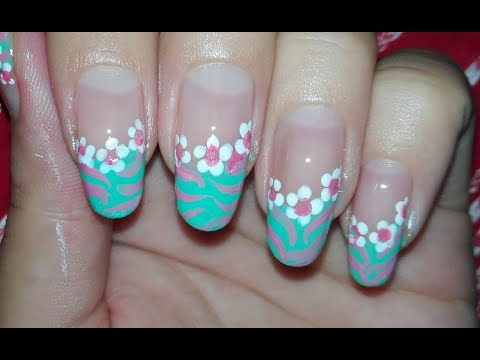 Diagonal Floral French Manicure Nail Art Tutorial: Easy DIY Nail Art for Spring/ Summer | Rose Pearl