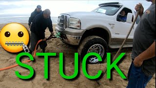 STUCK Ford truck with toyhauler Memorial day weekend. Pismo Beach Dunes Sand Camping