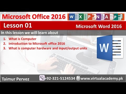 Microsoft Word 2016   Introduction to computer   introduction to Microsoft office 2016   Lesson 01