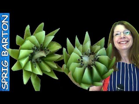 Food Art 10: KIWI SPIKED PETAL FLOWER! Sprig Barton's Fruit & Vegetable Carving