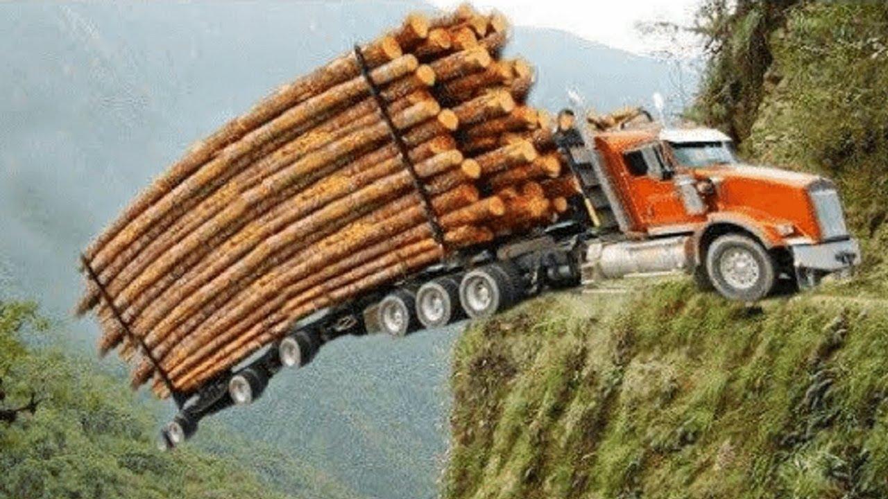 Dangerous Idiots Monster Logging Wood Truck Driving Skills, Fastest Climbing Truck Heavy Equipment