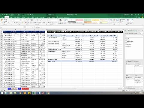 Excel Magic Trick 1393 PivotTable Show Values As: % Column Total, % Parent Total, % Parent Row Total