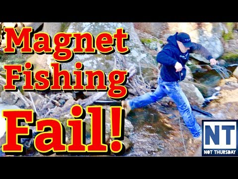 Magnet fishing fail  - Not Thursday #4 - Magnet fishing old mill site river slip fall in water
