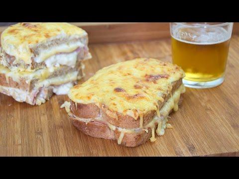 Croque Monsieur Sandwich - Baked Ham & Cheese Sandwich with Bechamel Sauce