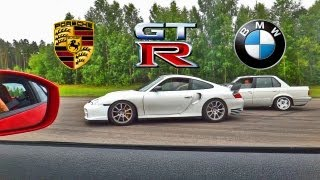 INSANE BMW E30 VS. Nissan GT-R VS. Porsche 911 Turbo. Rolling starts X2