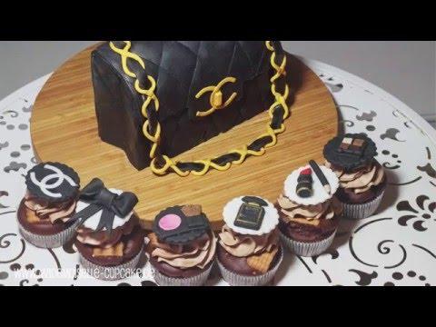 Chanel Handtasche - Torte und Cupcakes dekorieren mit Fondant - Mademoiselle Cupcake