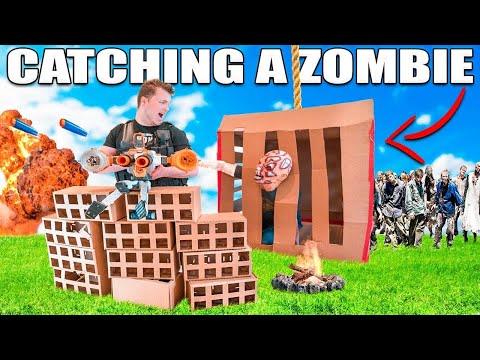 WE CAUGHT A REAL LIFE ZOMBIE!?! 😱📦24 HOUR BOX FORT ZOMBIE BASE