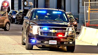 Boston Police Unmarked Car Chevy Tahoe PPV + Ford Interceptor Responding Sirens