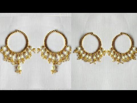 DIY Hoop Earrings/Gold Beaded Hoop Earrings/Pearls Earrings At Home.