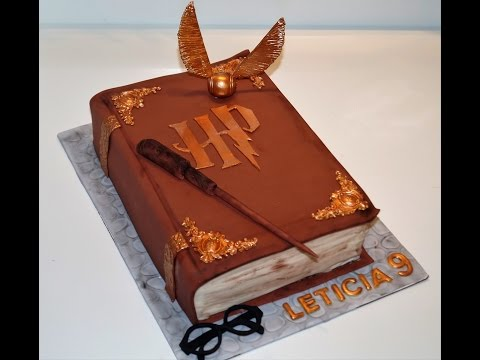 Cake decorating tutorials | how to make a 3D Harry Potter book of spells cake | Sugarella Sweets