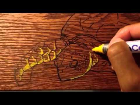Paint marker on wood