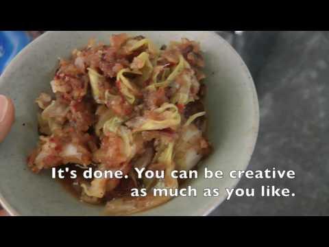 Vegan, oil and gluten free blackbean cabbage stew/기름과 글루텐이 없는 짜장소스