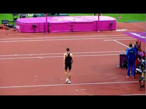 Derek Drouin Olympic High Jump attempt of 2.33m pep talk, London 2012 Olympics