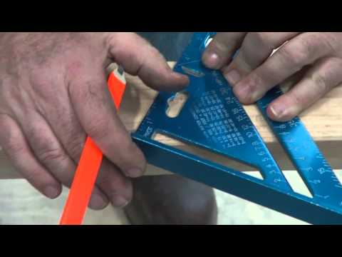 Marking an angle cut with a speed square