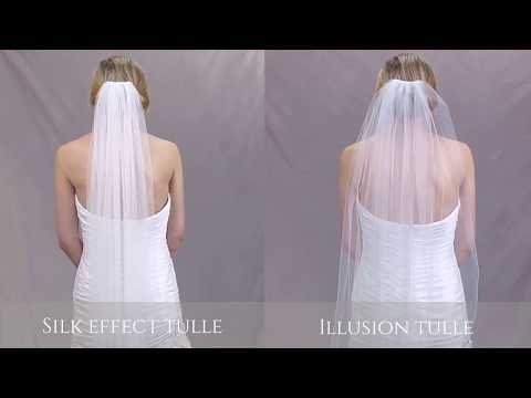 A side by side look at our Silk Effect tulle vs our Illusion tulle