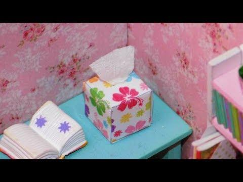 DIY Miniature Dollhouse Tissue Box - How to Make Miniature Dollhouse Things