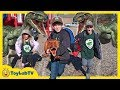 Dinosaur Escape Plan Giant Life Size Raptors Attack Kids Playground T Rex Toy Saves The Day