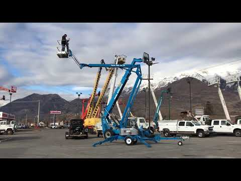 SOLD Tow Behind Aerial Manlift Boom Lift Genie TMZ50/30 50' Electric or Gas Towable Drive Set Option