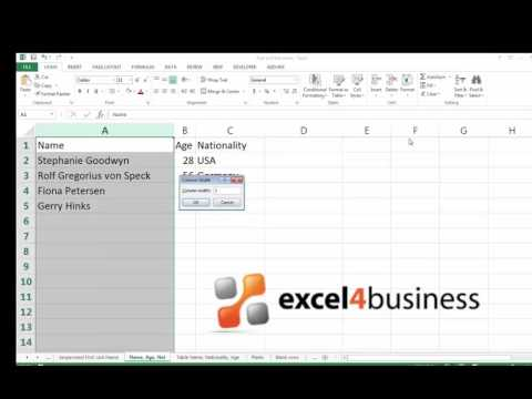 How to Adjust Column Width in Excel 2013