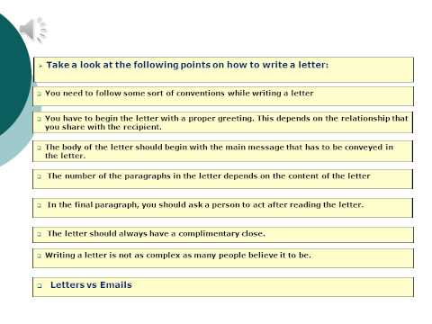 An introduction to letter or email  writing