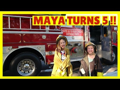 HAPPY BIRTHDAY TO MAYA !!! 🚒 Fire Truck + Bounce House PARTY !!!