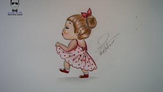 #x202b;تعلم رسم فتاة كارتونية بالرصاص والالوان الخشبية مع الخطوات للمبتدئين#x202c;lrm;