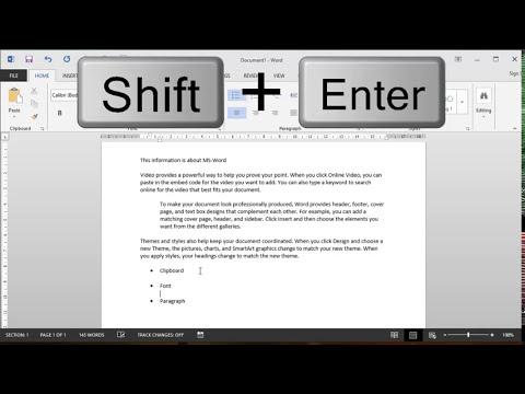 Using Word shortcut keys for formatting a document