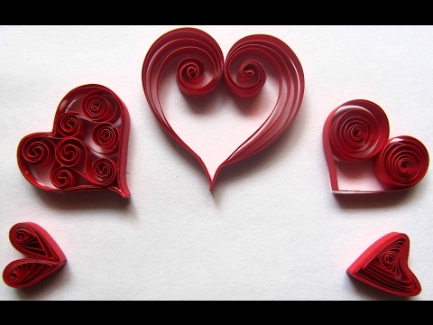 Quilled Hearts/ 5 different Hearts/ Easy to make Quilled Hearts