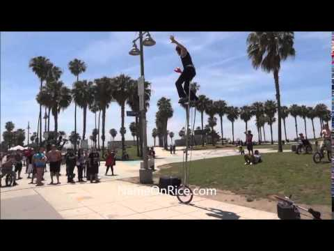 WORLD'S TALLEST UNICYCLE VENICE BEACH CALIF. MAY 1, 2014