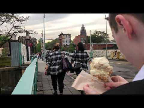enjoying snap mallow pop ice cream, Ample Hills, Brooklyn, New York (5-17-18)