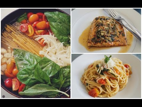 One Pan Pasta Recipe with a Rosemary, Butter, Garlic Sauce Salmon Packet