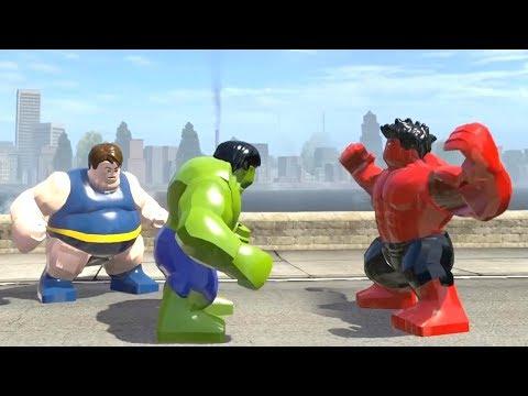 BLOB vs Red Hulk vs HULK Transformation (HOT GREEN HULK) LEGO Marvel Super Heroes