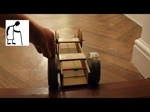 Rubber Band Powered Cardboard Car