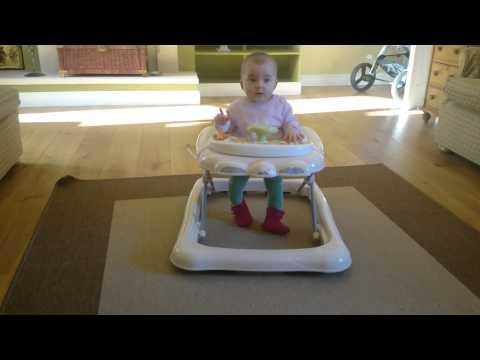6 months Baby in walker, baby walker