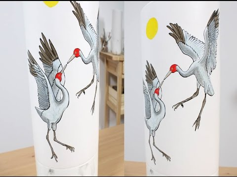 Art Lesson:  How to Paint Dancing Brolgas on a Vase with Ceramic Paint