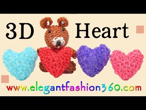 Rainbow Loom Heart 3D Charms/Holiday/Valentine - How to Loom Bands Tutorial