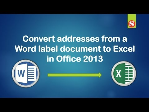 Convert addresses from a Word label to Excel Sheet