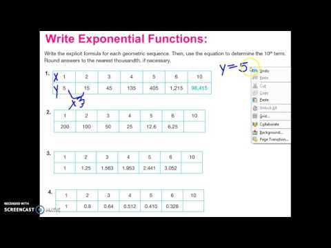 Introduction to Writing Exponential Functions from a Table
