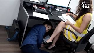 Foot worship in office...