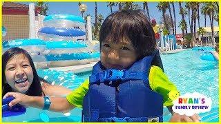 Ryan Rides Fun Water Slides at Family Theme Water Parks!!!