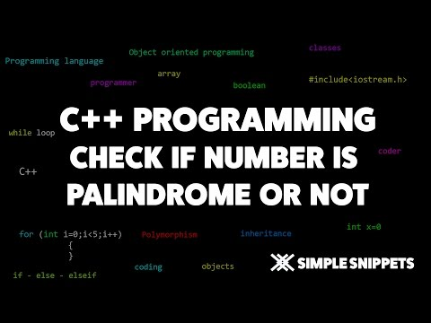 C++ program to Check for Palindrome Numbers | C++ programming tutorials for beginners