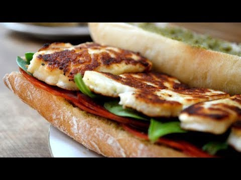 GRILLED HALLOUMI CHEESE SANDWICH/ BURGER  (with caramelized onions) - CYPRIOT GREEK RECIPE (EP 107)