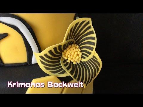Gelb - Schwarze Blume aus Fondant  / Tutorial fondant flower black 'n' yellow / Anleitung