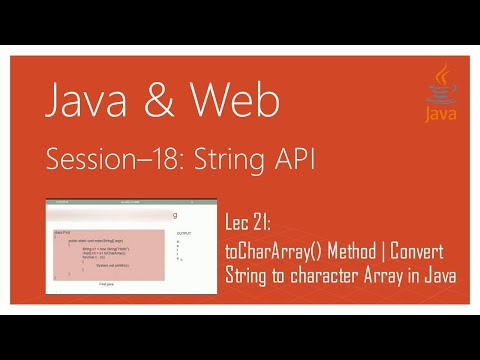 String API in Java | #21 | toCharArray() Method of the String Class in Java