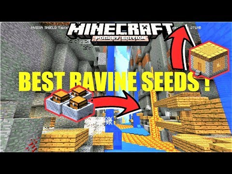 BEST RAVINE SEEDS FOR MCPE 1.2 ! RAVINE AT SPAWN WITH VILLAGE & MINESHAFT   Minecraft PE 1.2 Update