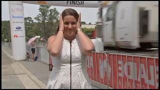 Truck Knocks Down Cycling Race Finish Line