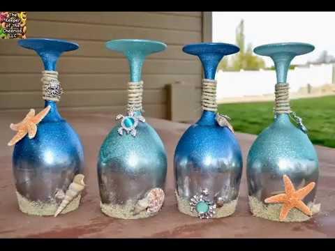 summer and sea wine glass candle holders