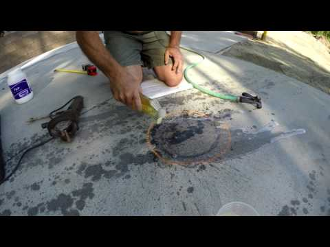 The Full Monty - Removing Black Motor Oil Stains off Gray Concrete Slab