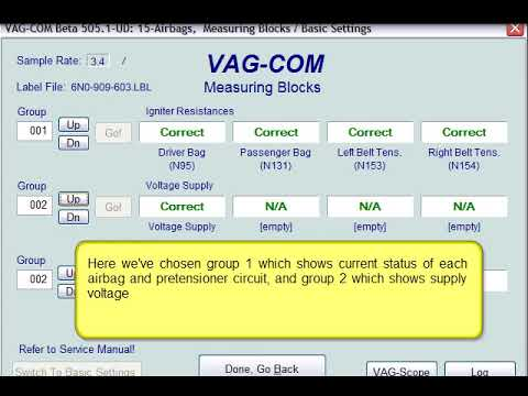 Testing SRS Airbag with VCDS Software (via VAGCOM Cable)