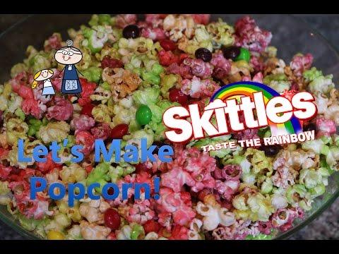 How to Make SKITTLES POPCORN! ~ Homemade Skittles Popcorn ~ Rainbow Candy Popcorn